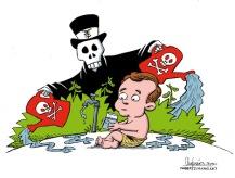 Envenenando nuestro futuro. Caricatura de Gervasio Umpiérrez