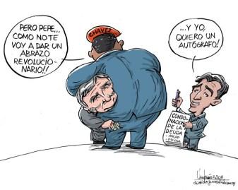 Allá no tan lejos y hace poco tiempo.... Cuando Venezuela convenía al gobierno. Caricatura de Gervasio Umpiérrez