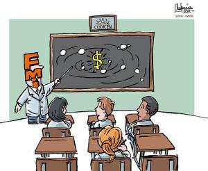 """Planes de Estudio"", caricatura de Gervasio Umpiérrez"