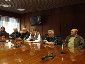 Eduardo Rubio junto a miembros del Coordinador de la UP