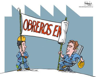 PIT CNT; gobierno; pancarta; burocracia sindical