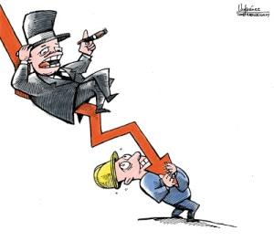 Soportando la crisis. Ilustración de Gervasio Umpiérrez